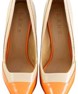 L.A.M.B. Naked/Orange Pumps
