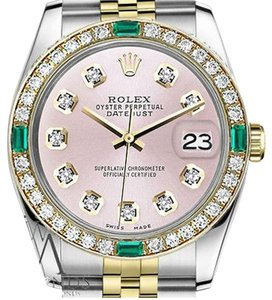 Rolex Women's Rolex 31mm Datejust 2 Tone Metallic Pink Emerald Diamond Dial Watch