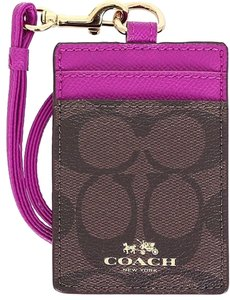 Coach Coach Signature C PVC Canvas Leather Brown Cranberry Lanyard, Badge Id Credit Card Holder 63274
