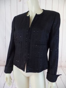 Carlisle Carlisle Blazer Black Cotton Viscose Silk Blend Boxy Crop Cut Sequins Lace Hot