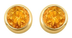 LoveBrightJewelry November Birthstone Citrine Bezel Stud Earrings 18K Yellow Gold Vermeil over Silver