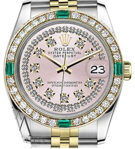 Rolex Women' Rolex 31mm Datejust 2 Tone Pink String Diamond Dial Emerald Vintage Style