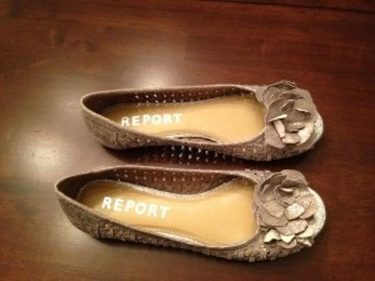 Report Signature Flower Pewter Flats