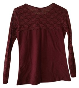 H&M Lace Floral Spring Top Red