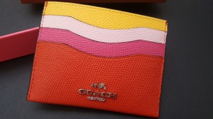 Coach NEW BOX COACH Multi-Color colorblock leather credit card case holder
