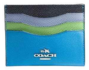 Coach NEW BOX COACH colorblock leather card case Credit card holder Blue