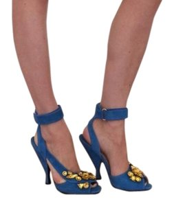 Prada Stunning Easy To Wear Chic Made In Italy aqua blue with yellow jewels Pumps