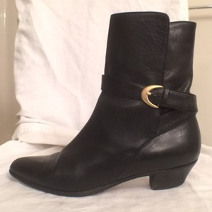Bally Ankle Leather Low Heel Black Boots