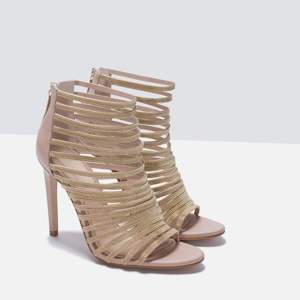 295a63f0a0b Zara Cage Heels Summer Nude gold Sandals Image 11. 123456789101112
