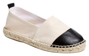Carvela Kurt Geiger Leather Espadrille Canvas Cap Toe Summer Black/Natural Flats