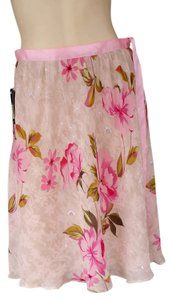 Barnardo Chiffon Floral Silk Beaded Ribbon Skirt Pink
