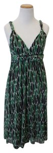 Green White and Black Maxi Dress by Diane von Furstenberg Silk Maxi Flow Flowy