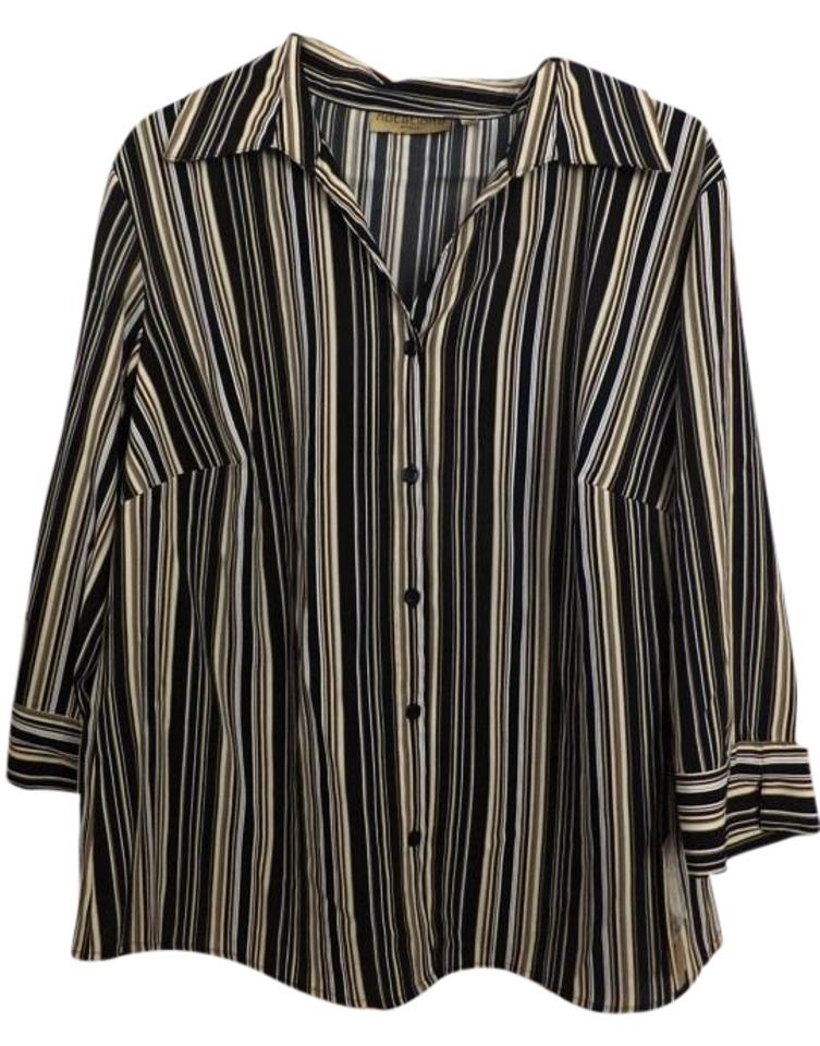 Notations Women S Striped 3 4 Sleeves Blouse Size 22 Plus 2x Tradesy