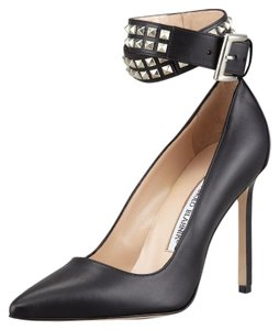 Manolo Blahnik Studded Pointed Toe Bb Ankle Strap Belta Black, Silver Pumps