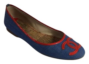 Chanel Denim Blue And Blue, Red Flats