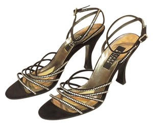 Stuart Weitzman Strappy Satin Sparkle Party Black Formal