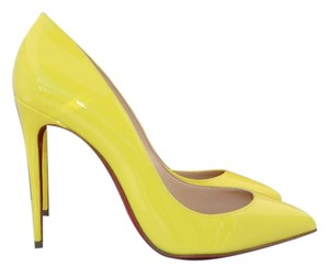 Christian Louboutin Patent Patent Leather Pointed Toe Luxury Yellow Pumps