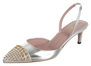 Gucci Hardware Pointed Toe Silver, Gold Pumps