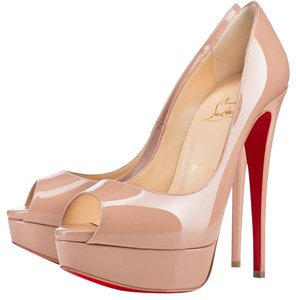 Christian Louboutin Patent Leather Peep Toe Beige, Tan Pumps