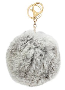 Gray Pom Pom Rabbit Fur Bag/Purse Charm Key Chain