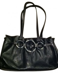 Adrienne Vittadini Hand Handbag Purse Circle Shape Embellished Classic Circle Accents Satchel in black