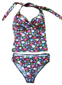 Boden BODEN 2 Pieces BRA-CAP FLORAL HALTER TANKINI TOP + BIKINI BOTTOM SWIM SUIT US 6 (UK10)