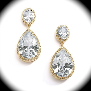 Bella Tiara Gold Cz Wedding Earrings