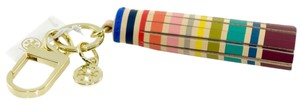 Tory Burch Striped Multicolor Tassel Key Fob