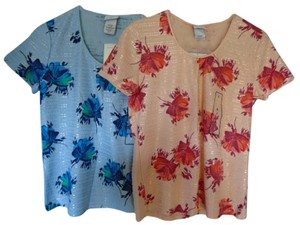 Jaclyn Smith Floral Small Top Blue/Peach
