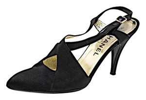 Chanel Satin Slingback Black Pumps