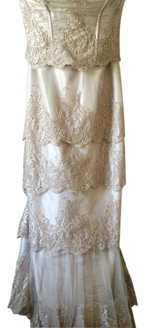 Item - Gold Strapless Lace Gown Long Formal Dress Size 12 (L)