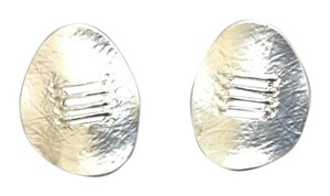 Other Classy Silver Brushed Oval Post Earrings