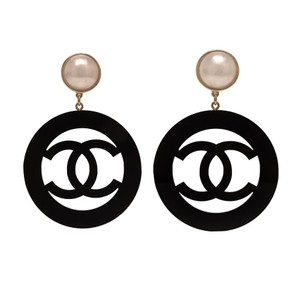 Chanel Chanel Large Vintage Black Resin Hoop Clip On Earring