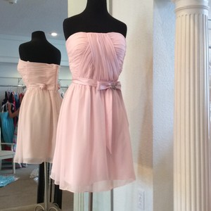 Forever Yours Baby Pink Chiffon Casual Bridesmaid/Mob Dress Size 8 (M)