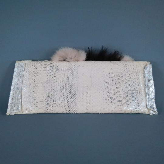Tracy Ross Fur Feathers Crystal Embellished Metallic Cream Clutch