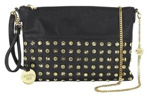 Patrizia Pepe Convertible Crossbody Studded Black Clutch