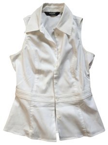 Express Sleeveless Button Up Career Business Casual Shirt Button Down Shirt White