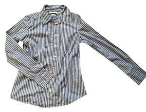 Old Navy Career Business Casual Shirt Longsleeve Button Down Shirt Blue Black and White
