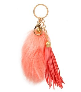 Other Coral Fur Tail Pom Pom Suede Leather Tassel Bag/Purse Charm Key Chain Accessory
