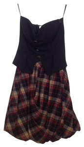 Papaya short dress Navy blue Bubble Plaid Buttons on Tradesy