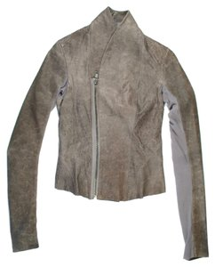 Rick Owens Leather Taupe Asymmetrical Zipper Gray Leather Jacket