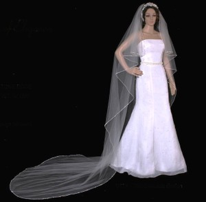 Rhinestone Edge Cathedral Wedding Veil In Ivory