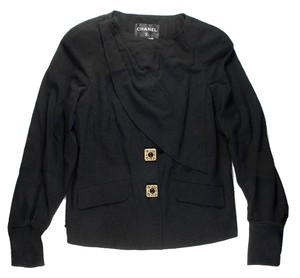 Chanel Gripoix Pearl Glass Buttons Black Jacket