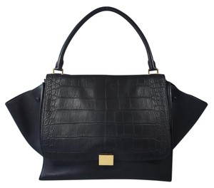 Céline Trapeze Gold Lambskin Embossed Satchel in Black