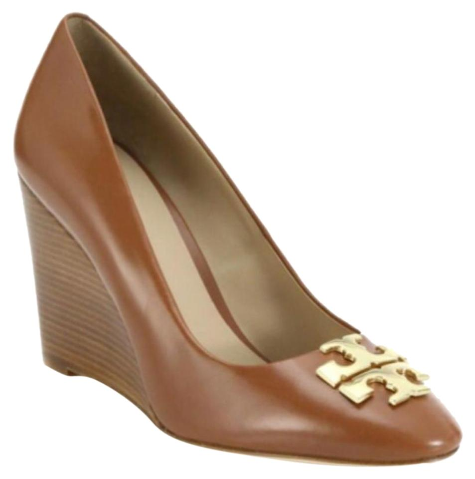 Tory Burch Logo Raleigh Brown Leather Gold Logo Burch Pumps Wedges ca0641