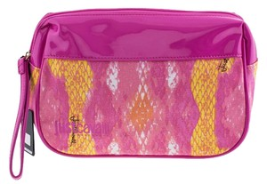 Just Cavalli New Just Cavalli Pink Yellow Snake Print Small Cosmetic Beach Bag