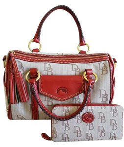Dooney & Bourke Style Gold Hardware Satchel in red/neutral WALLET INCLUDED!