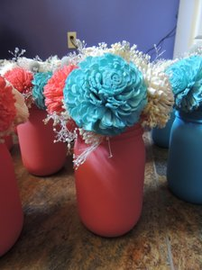 Mason Jar Sola Flower Centerpieces (12 Total)