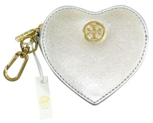 Tory Burch Tory Burch Saffiano Leather Heart Zip Coin Case Key Fob, Silver