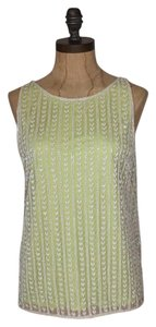 Anthropologie Overlay Beaded Top IVORY NEON